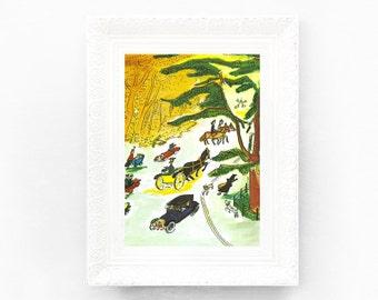 6x8 Vintage Madeline Print. Original French Book Plate Illustration Park Dog Walk Green France Paris Ludwig Bemelmans