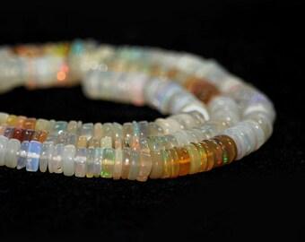 Ethiopian Opal Heshi Rondelles 3 Inches Rainbow Fire Shaded Semi Precious Gemstone October Birthstone