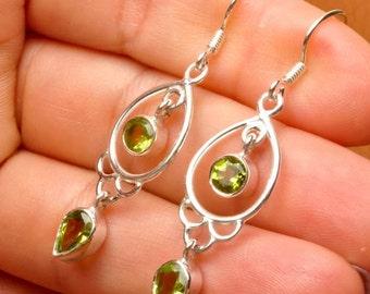 Faceted Peridot Sterling Silver earrings (#J1722)