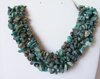 Natural Turquoise chip necklace (#656)