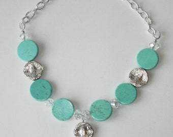 Blue Howlite Turquoise necklace (#678)