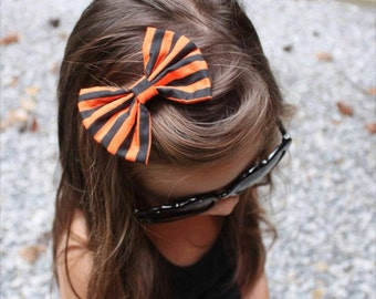 New! { the Katie } black and orange stripe clip or headband. Halloween Inspired Headband,  baby girl headband, newborn bow