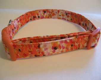 Handmade Cotton Dog Collar - Watercolor Flowers