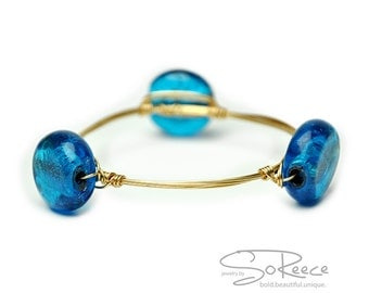 Blue foil-lined glass BANGLE