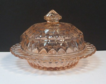 Sale Pink Glass Round Covered Butter Windsor Diamond Jeannette Glass Depression Glass 1930s Rare