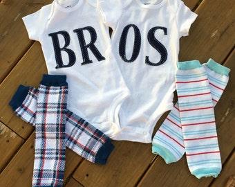 Navy BROS onesie.
