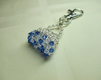 Purse Charm or Zipper Pull in Blue and Clear Crystals