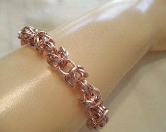 Byzantine Chain Maille Bracelet in Rose Gold Finish
