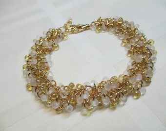 Cha Cha Bracelet in White With Gold