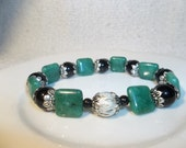 Green Jade Squares with Black Pearls & Metal Accents-Beaded Stretch Bracelet  (235)