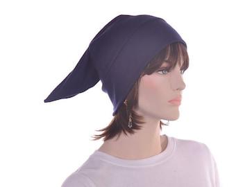 Pointed Sleep Cap Nightcap Navy Blue  Sleeping Hat Victorian Night Cap Pointed Unisex Poor Poet Hat