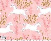 Magic! - Unicorn Forest Blossom Pink with Metallic by Sarah Jane from Michael Miller