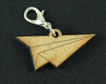 [BUNDLE] Paper airplane charm pendant Origami plane wood
