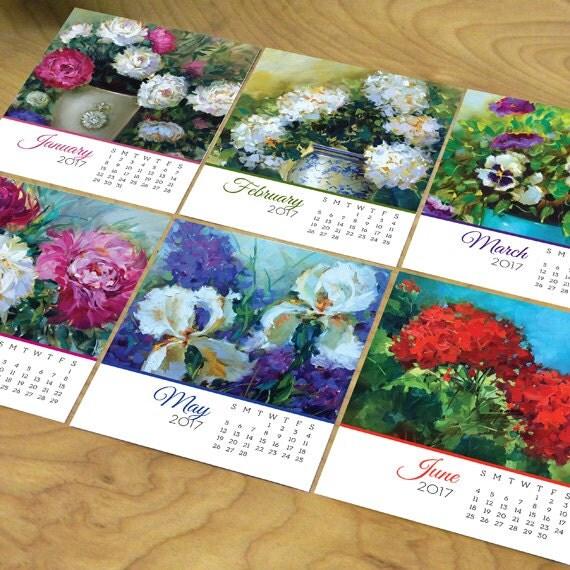 2017 desk calendar, Nancy Medina desk calendar, 2017 floral desk calendar, office desk calendar, florals by Nancy Medina desk calendar