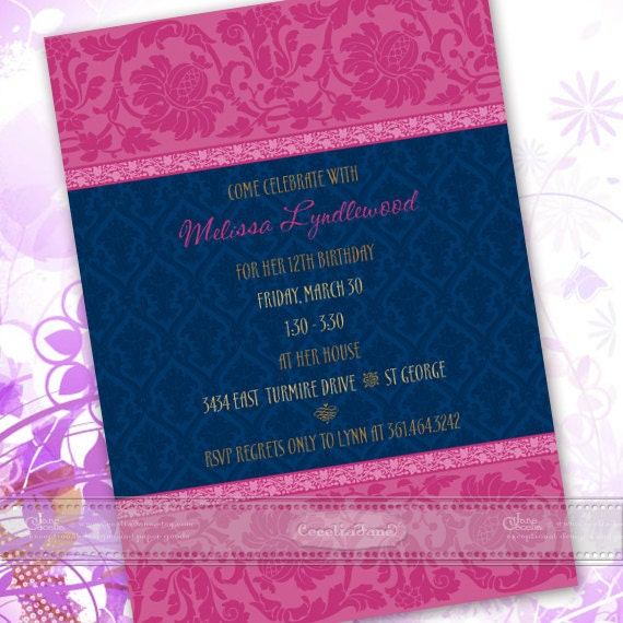 bridal shower invitations, fuchsia and navy birthday party invitations, hot pink party invitations, fuchsia damask invitation, IN433