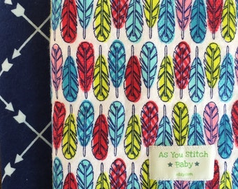 """Two Pack Extra Large Flannel  Swaddle Receiving Blankets. 40""""x40"""". Baby Gift. Shower Gift. Feathers and Arrows."""