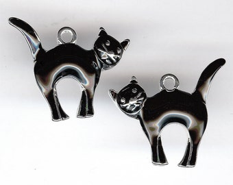 One Pair (2 Cats) BLACK CAT Charms. Left/Right Facing Silver Plated Enamel. One Sided CATS.