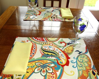 Whimsy Multi Placemats Yellow Blue Rust Paisley Decorative Table Top Placemats 13x18