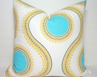 Decorative Accent Pillow Cover Susette Coastal Blue Saffron Yellow Geometric Pillow Cover Choose Size