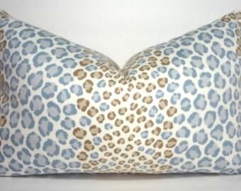 Decorative Animal Print Lumbar Pillow Cover Leopard Grey Blue Tan Pillow Cover Leopard Print Throw Pillow Cover 12x18