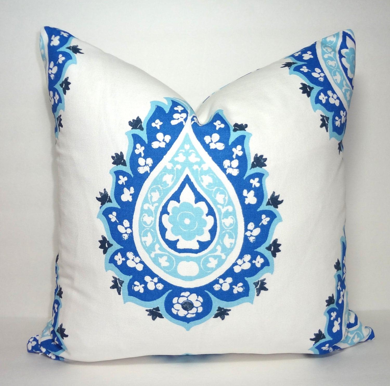 Cobalt Blue Throw Pillow Covers : Decorative Accent Pillow Cover Damask Cobalt Blue Paisley