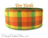 "Fall Wired Ribbon, 2 1/2"" Plaid, Orange, Green,Yellow - TEN YARDS - ""Berkshire Check"" Halloween, Thanksgiving Wire Edged Ribbon"