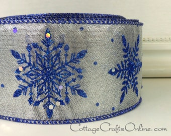 "Wired Ribbon, 2 1/2"", Silver, Royal Blue Glittered Snowflakes - TWENTY YARD ROLL - ""Silver Glimmer"" Christmas, Hanukkah Wire Edged"