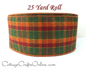 "Fall Wired Ribbon, 2 1/2"" wide Plaid, Green, Orange, Cranberry, Yellow - TWENTY FIVE YARD RoLL  -  ""Pumpkin Plaid"" Halloween Ribbon"