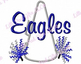 Megaphone-Pompoms - Eagles - Applique - Machine Embroidery Design - 6 Sizes