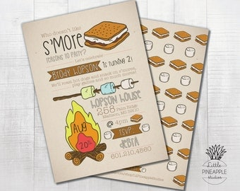 Campfire and S'mores Birthday Party Invite DIY Printable