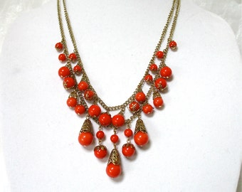 Vintage Red Beaded Necklace, double strand, long chains, Excellent