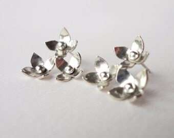 Flower earrings- Sterling silver earrings- stud earrings- bridal earrings- bridal jewellery- flower jewellery- wedding earrings