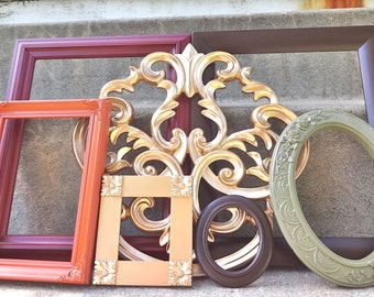 Rich and Colorful ORNATE Picture Frame Set Brown Green Orange Gold Red Wine