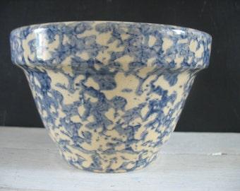 Vintage Ransbottom Sponge Ware Mixing Bowl - Blue - 1 QT.