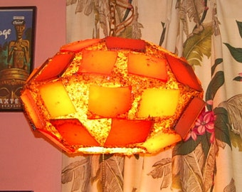 Lava Rock Swag Lamp Flying Saucer Lucite Vintage 60's Hanging Lamp Wild Retro Home Decor