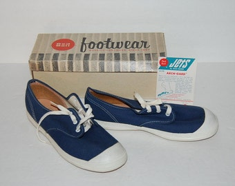 Kids Red Ball Jets Junior Navy Tennis Athletic Shoes Size 3 M Original Box 1950s Sneakers