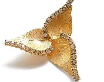 Vintage Rhinestone Brooch Gold Leaf Pin 1950s Wedding