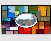 Stained glass panel window hanging large oval bevel rainbow stained glass window panel geometric stained glass abstract suncatcher 0106
