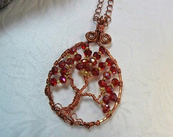 Tree of Life Pendant - Copper Tree of Life Pendant - Made With Beautiful Sparkly Red AB Rondelle Crystals - by Chicartistique -free shipping