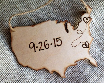 Custom Wood Ornament Wedding First Christmas Personalized USA with YOUR States in a Heart & Your Initials Wedding Date Newlyweds