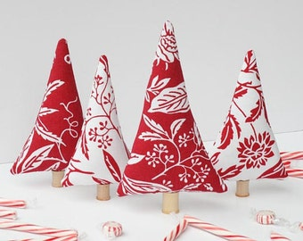Christmas tiny forest peppermint trees red white Christmas Holiday mantle decoration stuffed Christmas trees, room decor gift idea