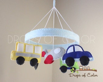 Transportation Mobile - Baby Crib Mobile - Boy Baby Mobile - Circle Frame - Cars, Plane, Bus, Train Nursery (You can pick your colors)