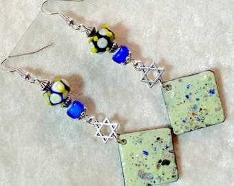 Lampwork and Enameled Metal Earrings - Sea Green and Blue with Star of David