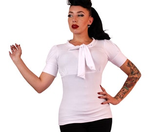Puff Sleeve Bow Top  White