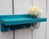Distressed wood Keyholder / Shelf, home decor, shabby chic decor, turquoise,  shelves