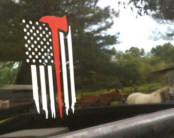 Firefighting decal/window decal/yeti decal/American flag/fireman ax/patriotic/fire/rescue/battle ax