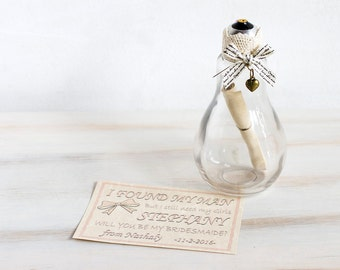 Bridesmaid Proposal Maid Of Honour Flower Girl Invite Will You Be My Bridesmaid Ask Bridesmaid Custom Message in a bottle Bridesmaid Invite