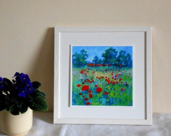 "8 x 8 Art Print from the English Landscape, ""Full Field  of Poppies""."