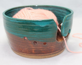 Ceramic Yarn Bowl with Butterfly in Turquoise Ceramic Knitting Bowl