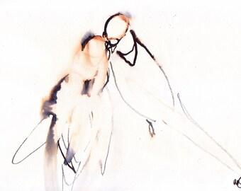 the kiss. ORIGINAL ART birds watercolour ink painting